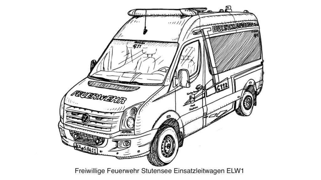 FF Stutensee ELW Ausmalvorlage