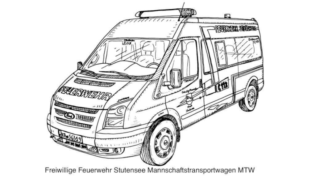 FF Stutensee MTW Ausmalvorlage
